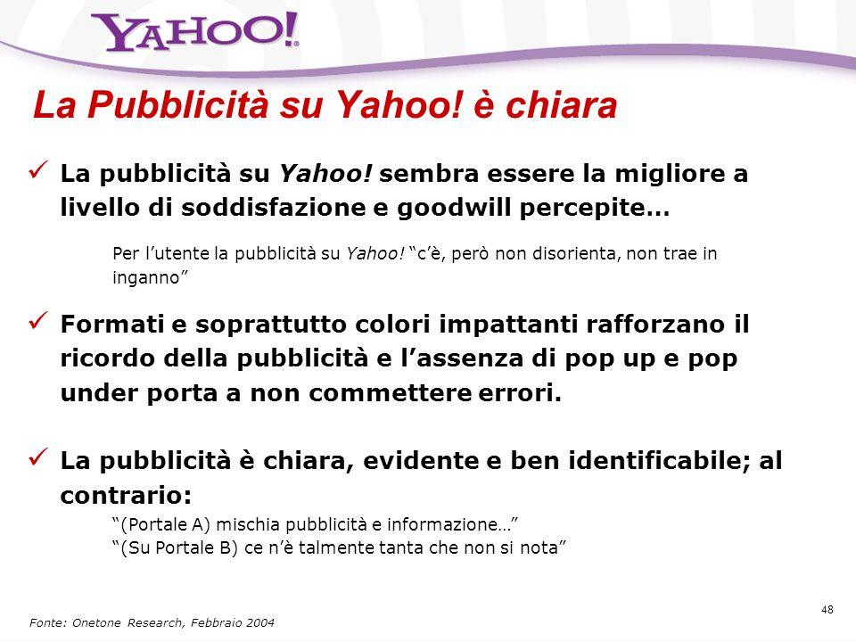 La Pubblicità su Yahoo! è chiara