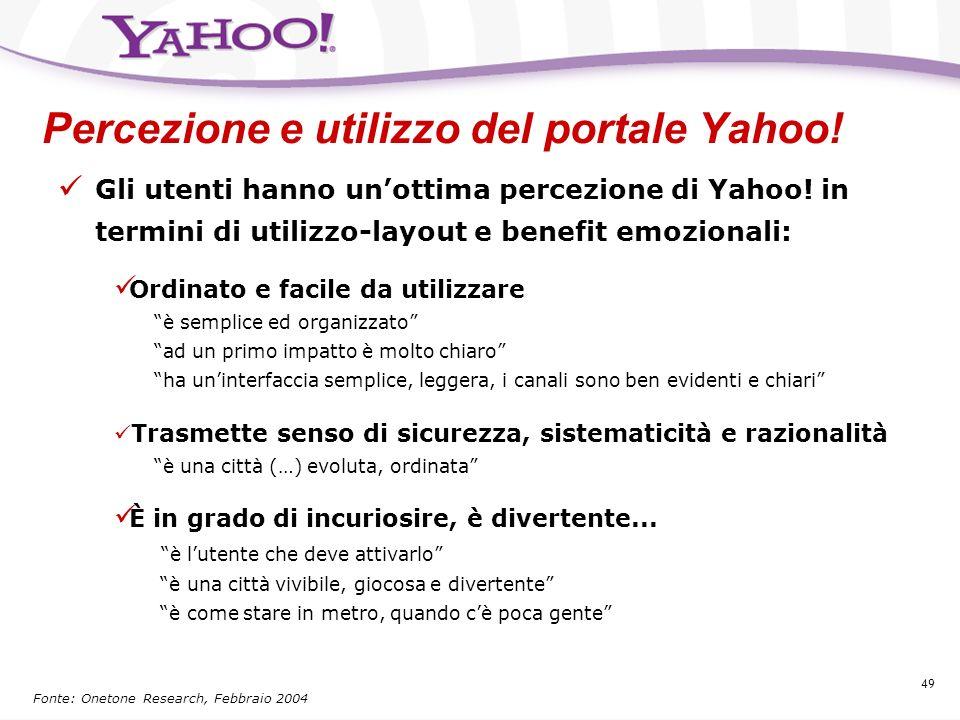 Percezione e utilizzo del portale Yahoo!