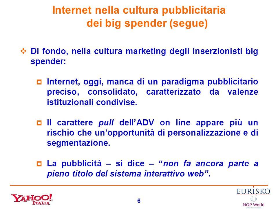 Internet nella cultura pubblicitaria dei big spender (segue)