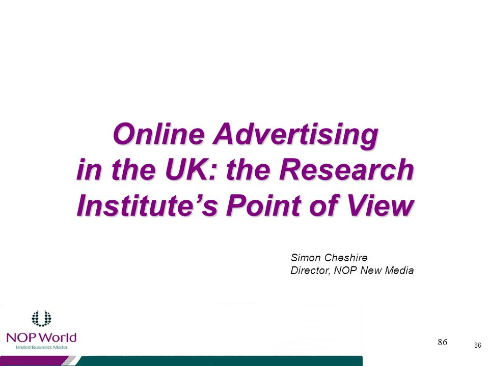 Online Advertising in the UK: the Research Institute's Point of View