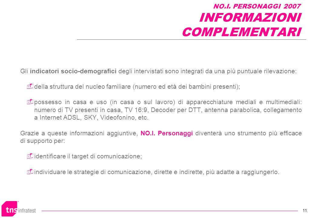 NO.I. PERSONAGGI 2007 INFORMAZIONI COMPLEMENTARI
