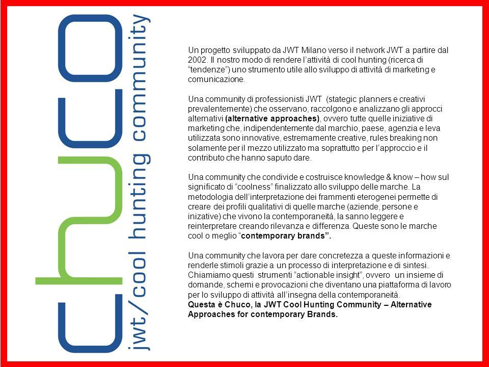 Un progetto sviluppato da JWT Milano verso il network JWT a partire dal 2002. Il nostro modo di rendere l'attività di cool hunting (ricerca di tendenze ) uno strumento utile allo sviluppo di attività di marketing e comunicazione.
