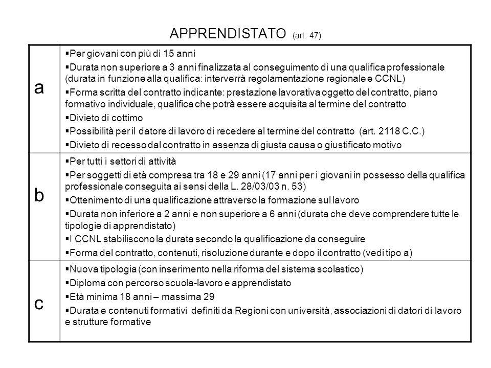 a b c APPRENDISTATO (art. 47) Per giovani con più di 15 anni