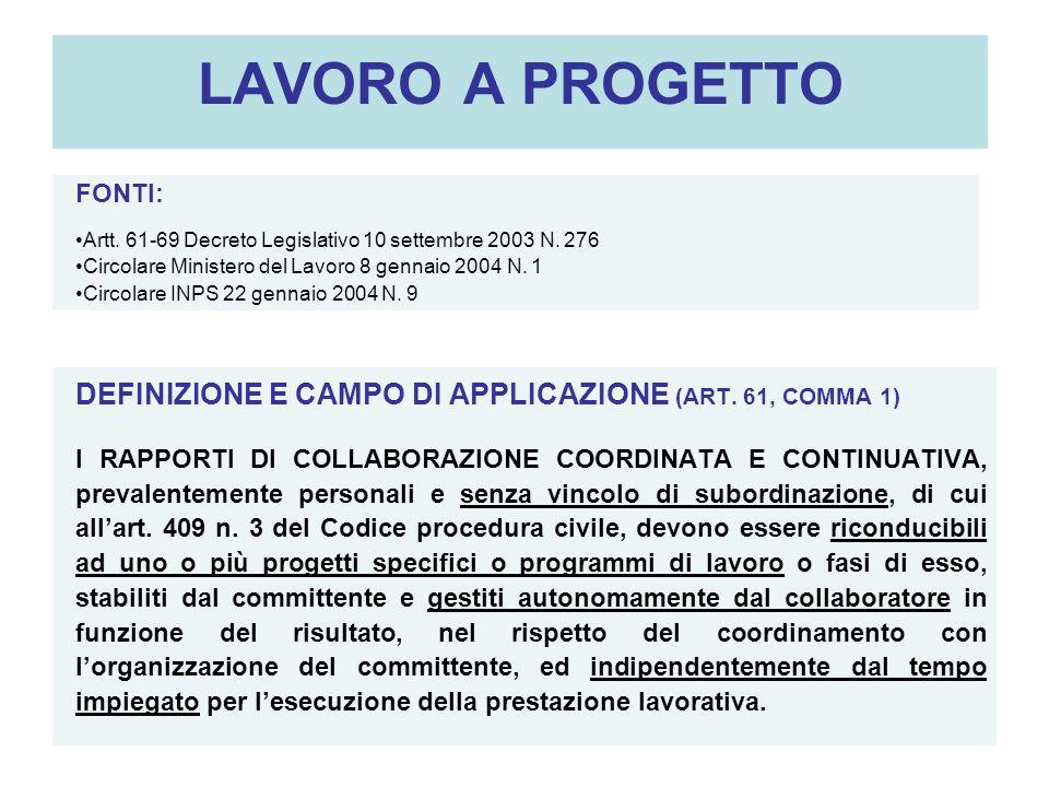 LAVORO A PROGETTO FONTI: Artt. 61-69 Decreto Legislativo 10 settembre 2003 N. 276. Circolare Ministero del Lavoro 8 gennaio 2004 N. 1.