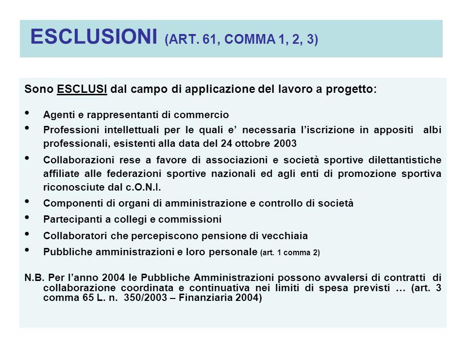 ESCLUSIONI (ART. 61, COMMA 1, 2, 3)