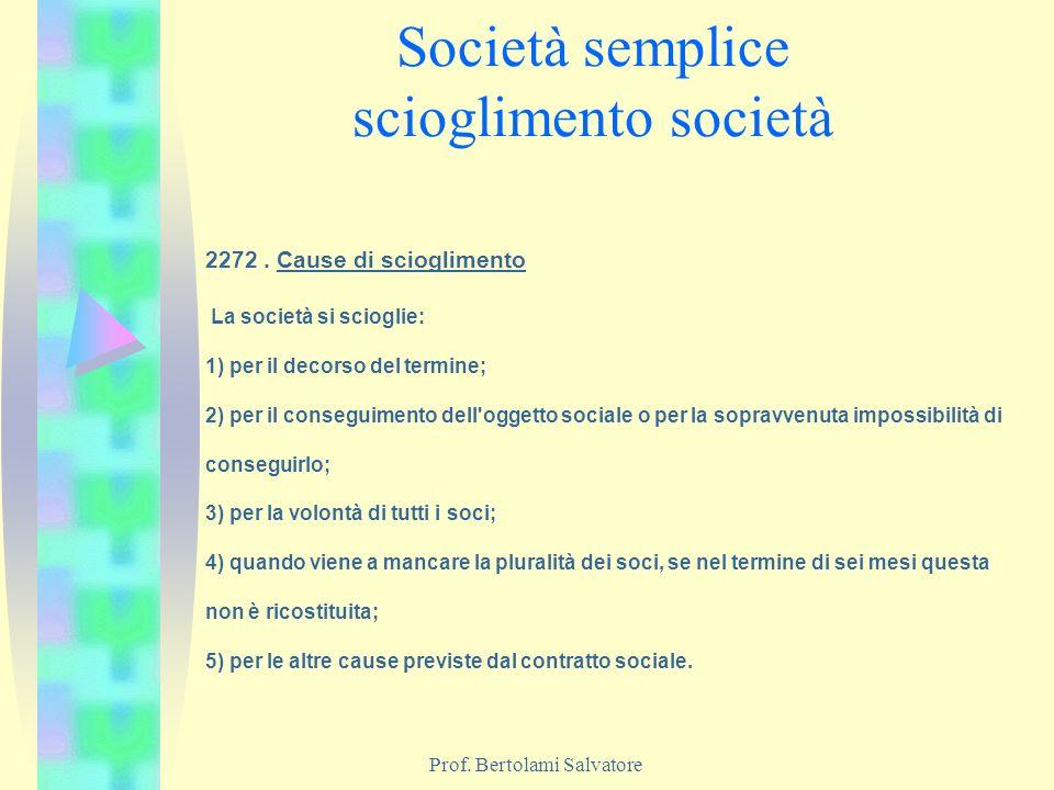 Società semplice scioglimento società
