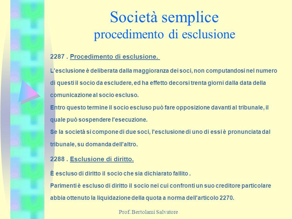 Società semplice procedimento di esclusione