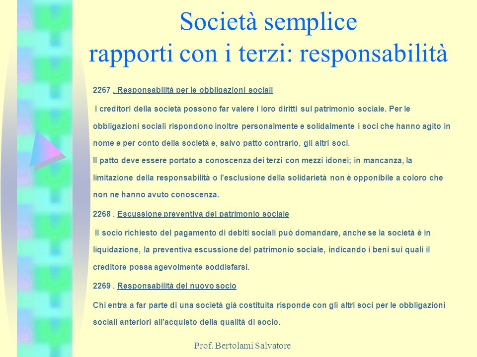 Società semplice rapporti con i terzi: responsabilità