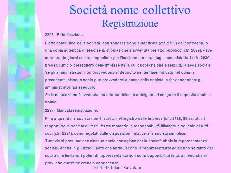 Società nome collettivo Registrazione