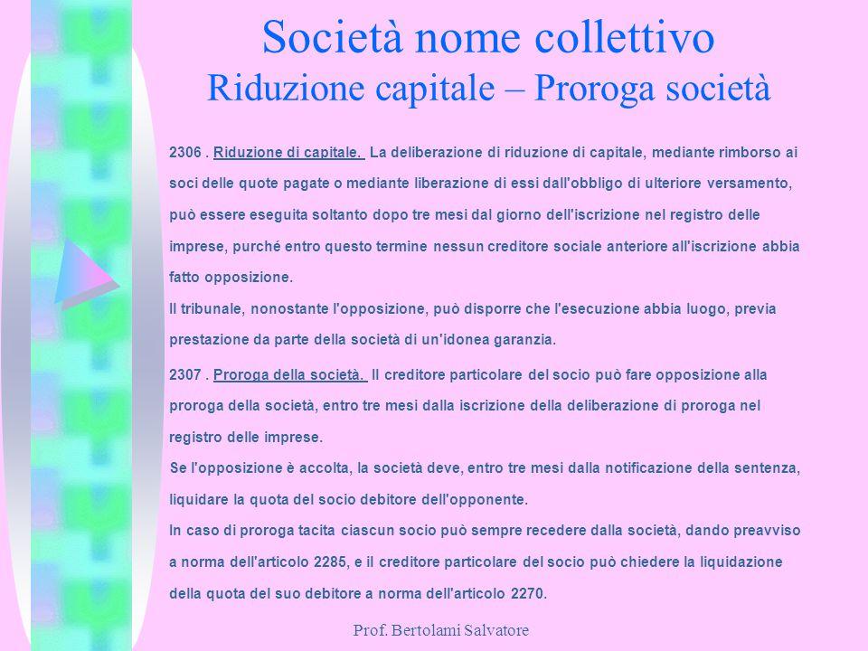 Società nome collettivo Riduzione capitale – Proroga società