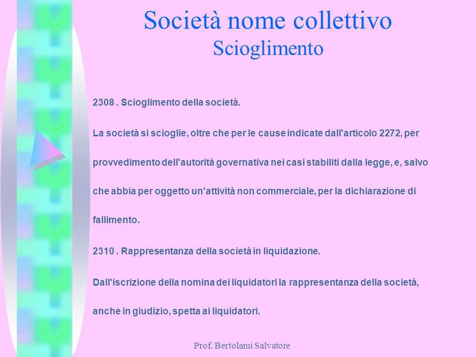 Società nome collettivo Scioglimento