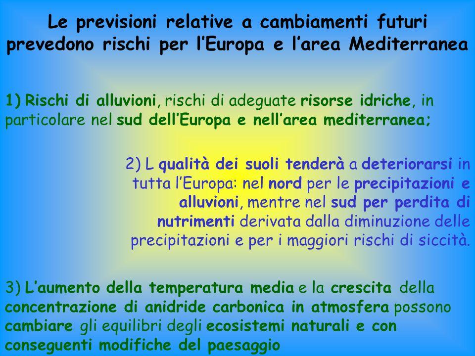 Le previsioni relative a cambiamenti futuri prevedono rischi per l'Europa e l'area Mediterranea