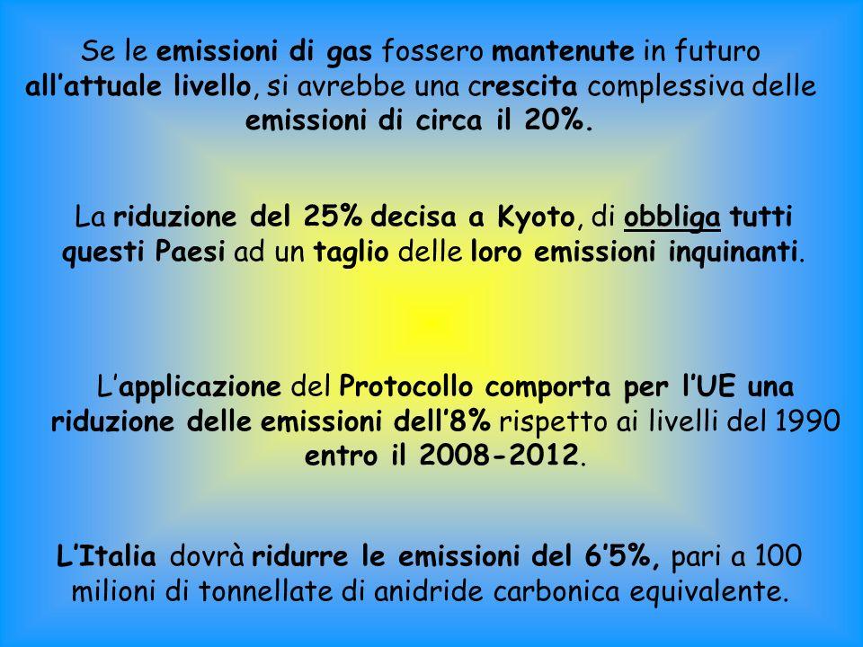 Se le emissioni di gas fossero mantenute in futuro all'attuale livello, si avrebbe una crescita complessiva delle emissioni di circa il 20%.