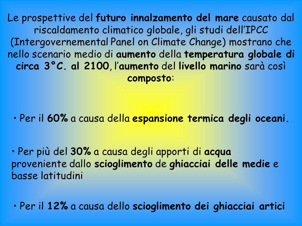 Le prospettive del futuro innalzamento del mare causato dal riscaldamento climatico globale, gli studi dell'IPCC (Intergovernemental Panel on Climate Change) mostrano che nello scenario medio di aumento della temperatura globale di circa 3°C. al 2100, l'aumento del livello marino sarà così composto: