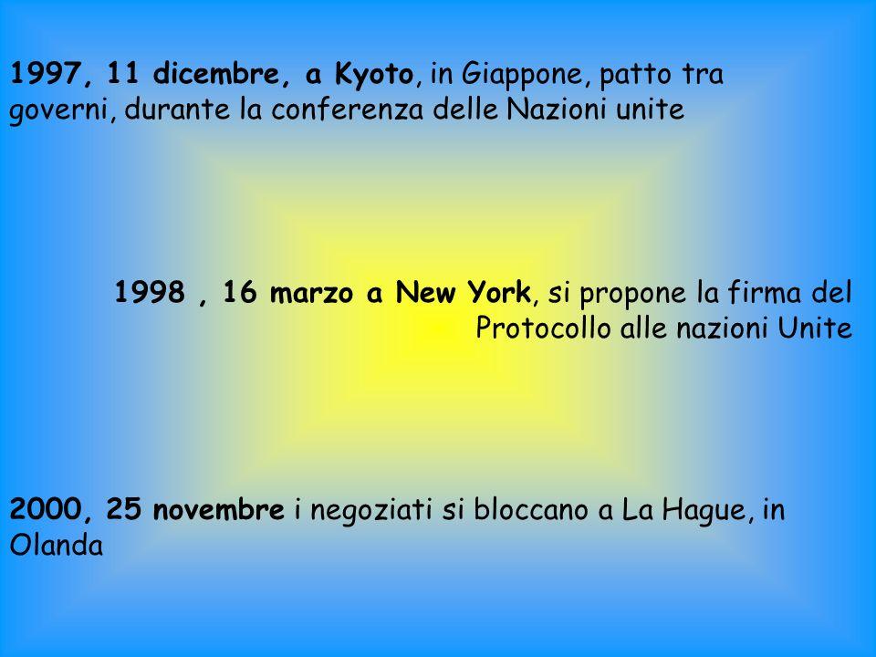 1997, 11 dicembre, a Kyoto, in Giappone, patto tra governi, durante la conferenza delle Nazioni unite