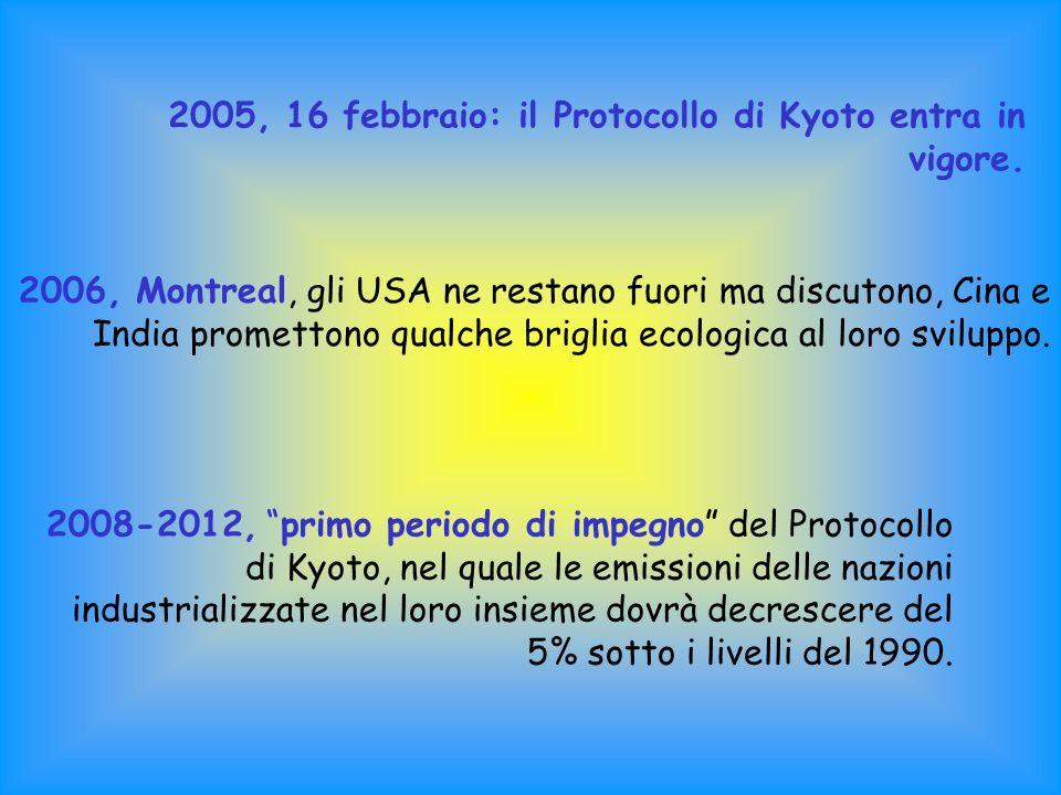 2005, 16 febbraio: il Protocollo di Kyoto entra in vigore.