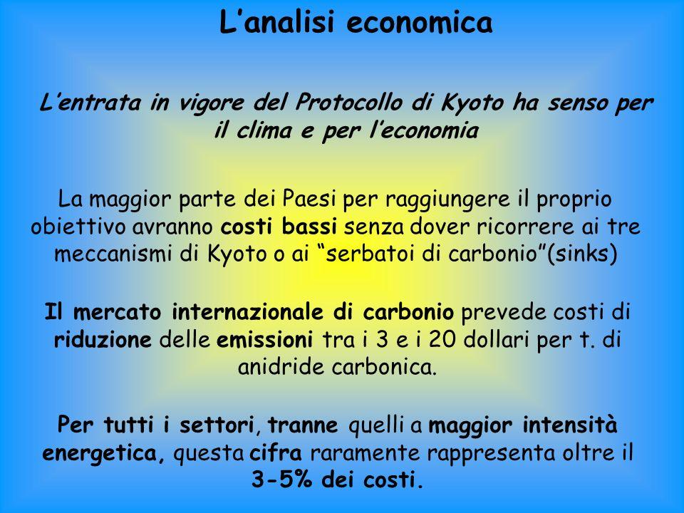 L'analisi economica L'entrata in vigore del Protocollo di Kyoto ha senso per il clima e per l'economia.