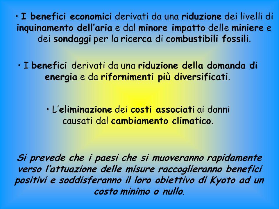 I benefici economici derivati da una riduzione dei livelli di inquinamento dell'aria e dal minore impatto delle miniere e dei sondaggi per la ricerca di combustibili fossili.