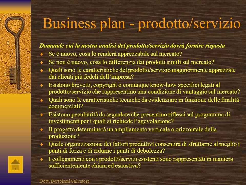 Business plan - prodotto/servizio
