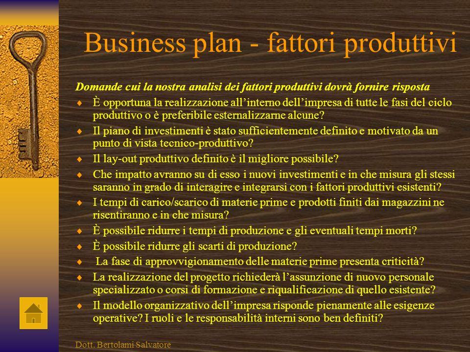 Business plan - fattori produttivi