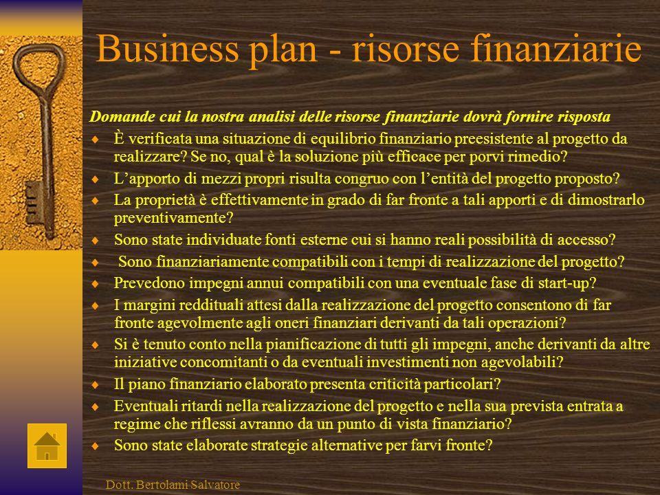 Business plan - risorse finanziarie