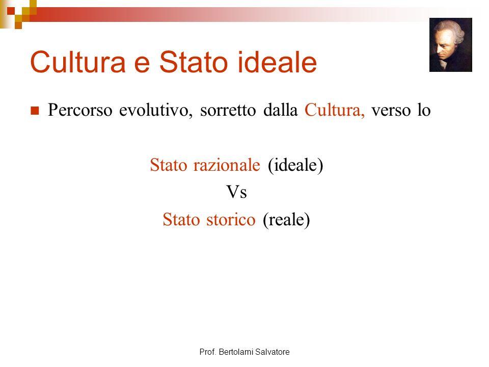 Cultura e Stato ideale Percorso evolutivo, sorretto dalla Cultura, verso lo. Stato razionale (ideale)