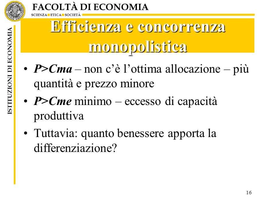 Efficienza e concorrenza monopolistica
