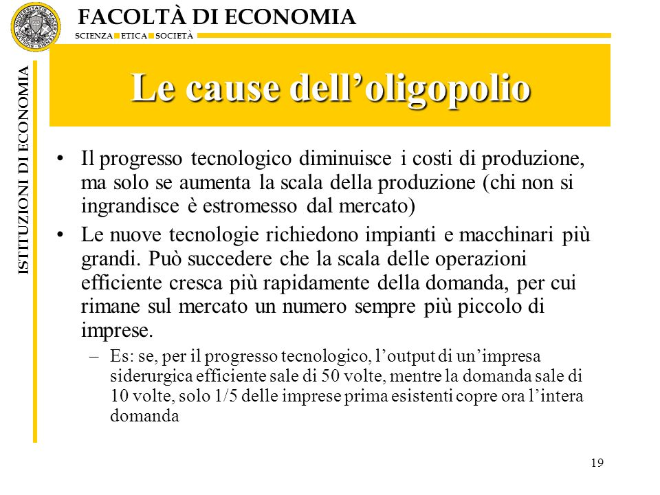 Le cause dell'oligopolio