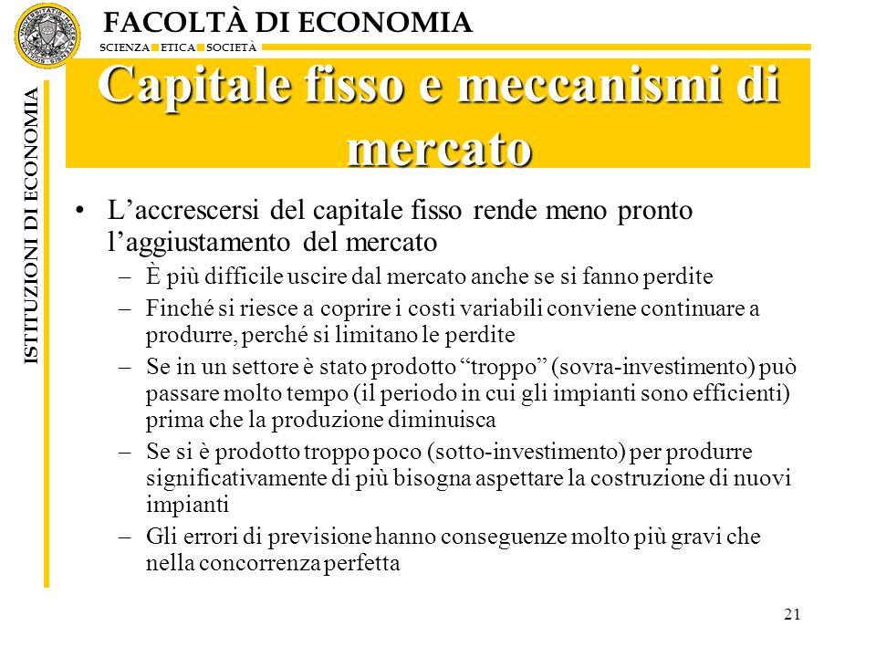 Capitale fisso e meccanismi di mercato