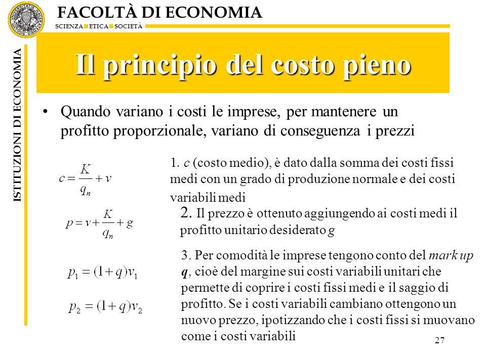 Il principio del costo pieno