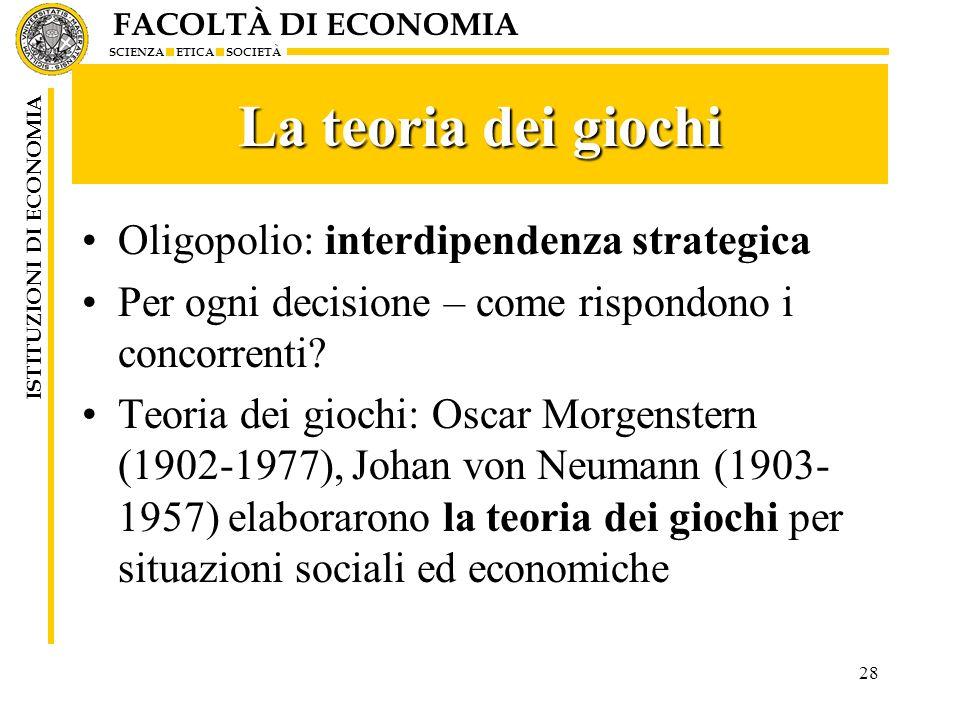 La teoria dei giochi Oligopolio: interdipendenza strategica