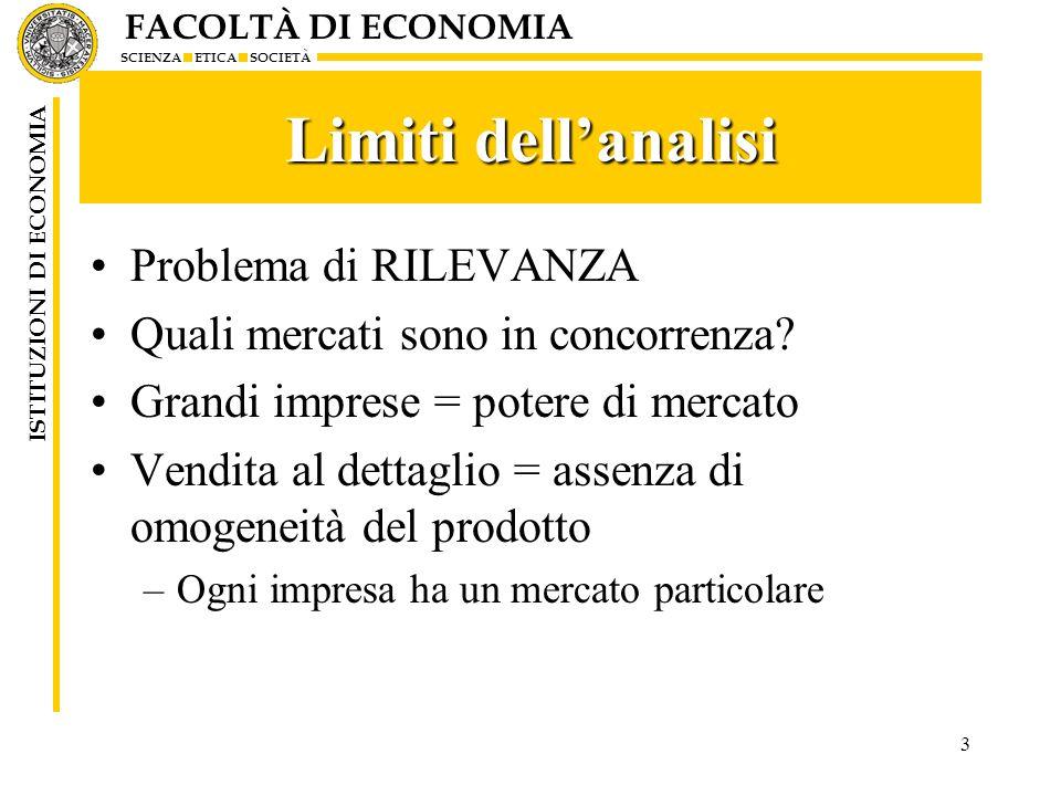 Limiti dell'analisi Problema di RILEVANZA