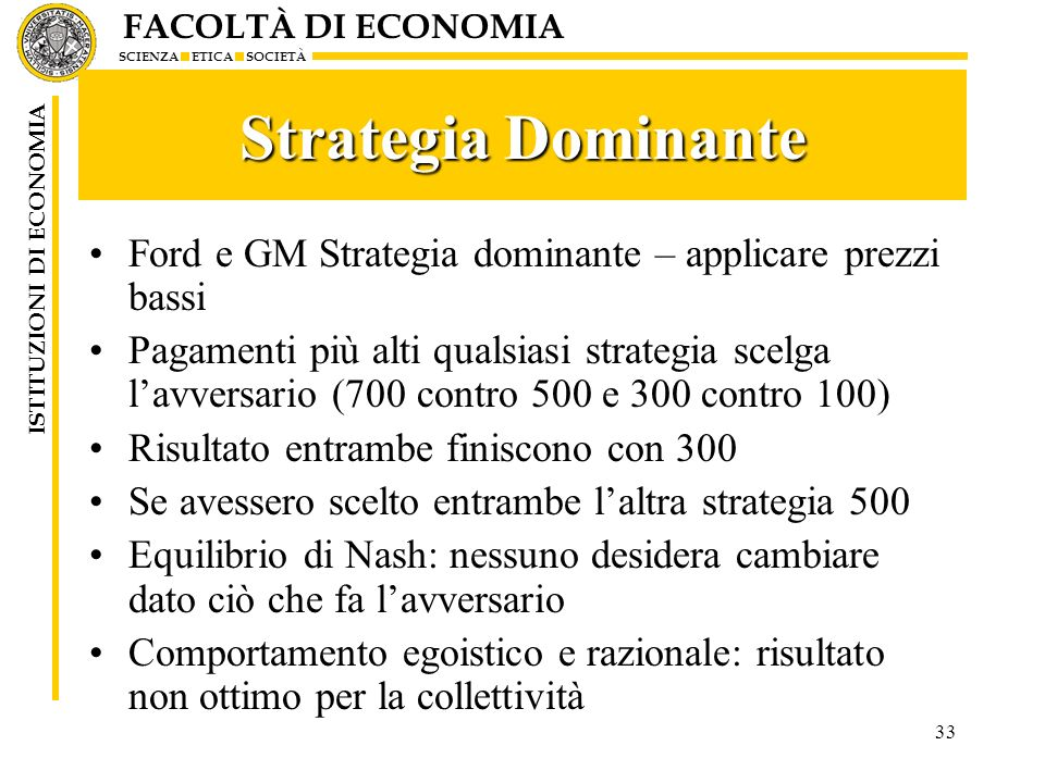Strategia Dominante Ford e GM Strategia dominante – applicare prezzi bassi.