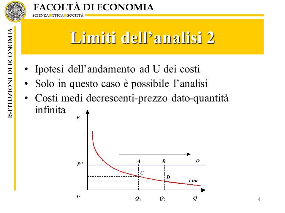 Limiti dell'analisi 2 Ipotesi dell'andamento ad U dei costi