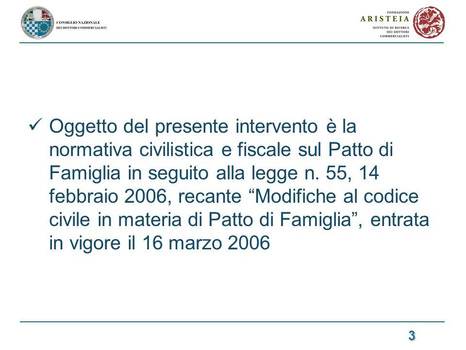Oggetto del presente intervento è la normativa civilistica e fiscale sul Patto di Famiglia in seguito alla legge n.
