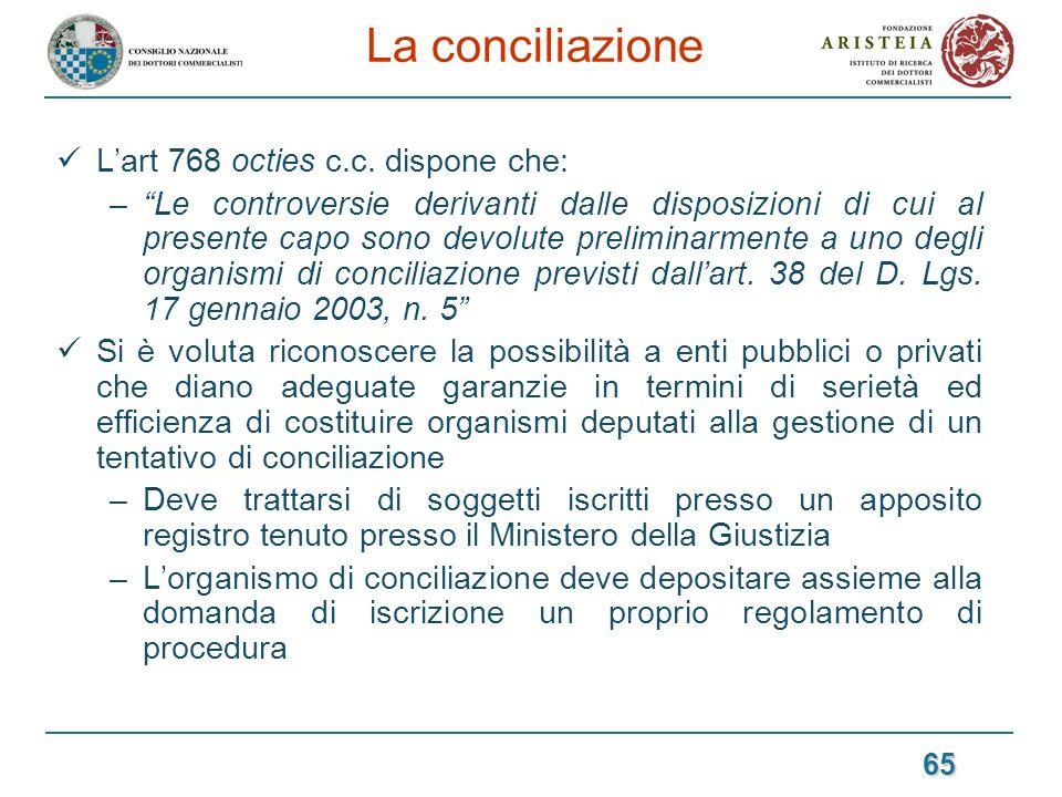 La conciliazione L'art 768 octies c.c. dispone che: