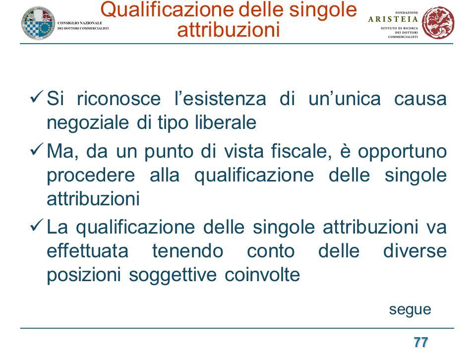 Qualificazione delle singole attribuzioni