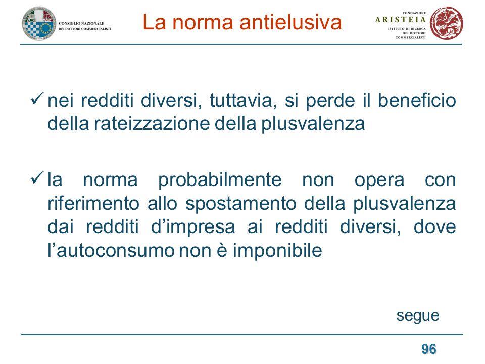 La norma antielusiva nei redditi diversi, tuttavia, si perde il beneficio della rateizzazione della plusvalenza.