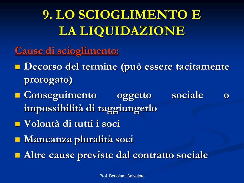 9. LO SCIOGLIMENTO E LA LIQUIDAZIONE