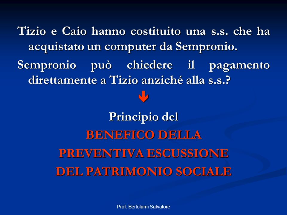 PREVENTIVA ESCUSSIONE DEL PATRIMONIO SOCIALE