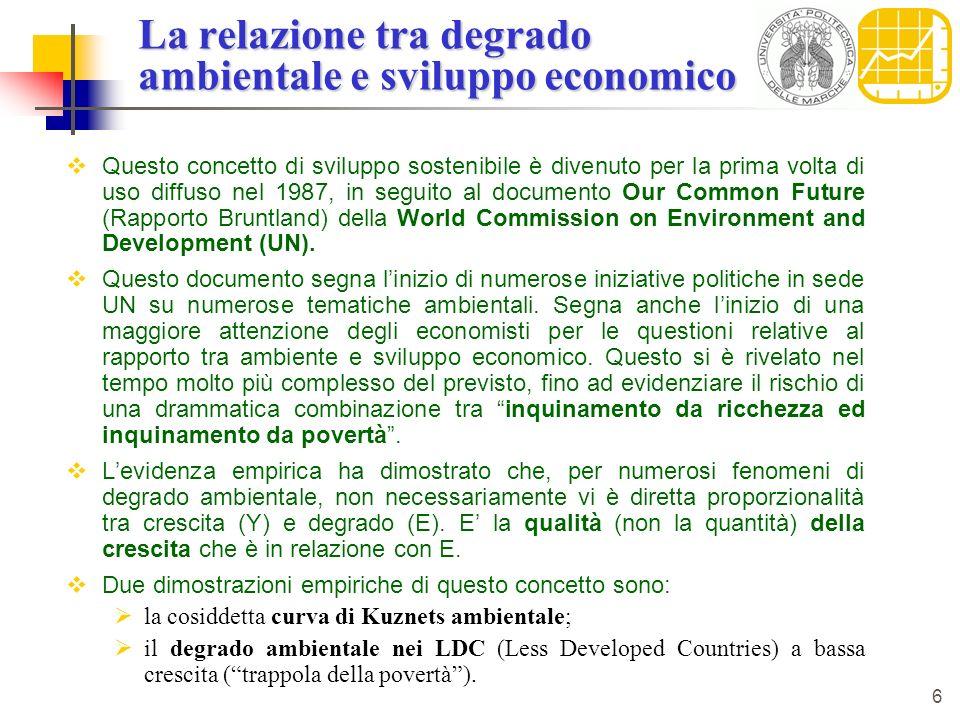 La relazione tra degrado ambientale e sviluppo economico