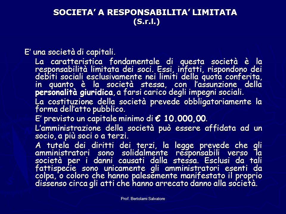 SOCIETA' A RESPONSABILITA' LIMITATA (S.r.l.)