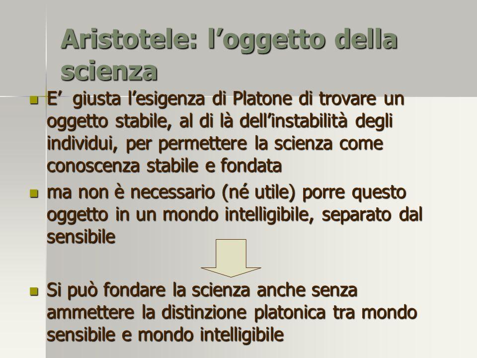 Aristotele: l'oggetto della scienza