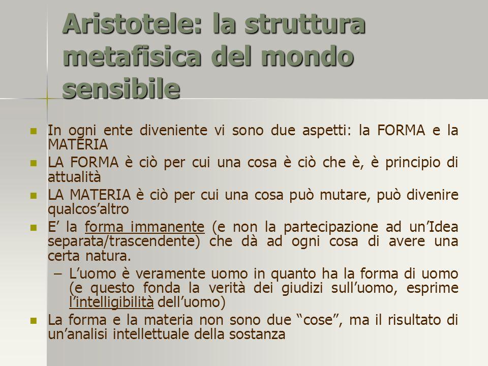 Aristotele: la struttura metafisica del mondo sensibile