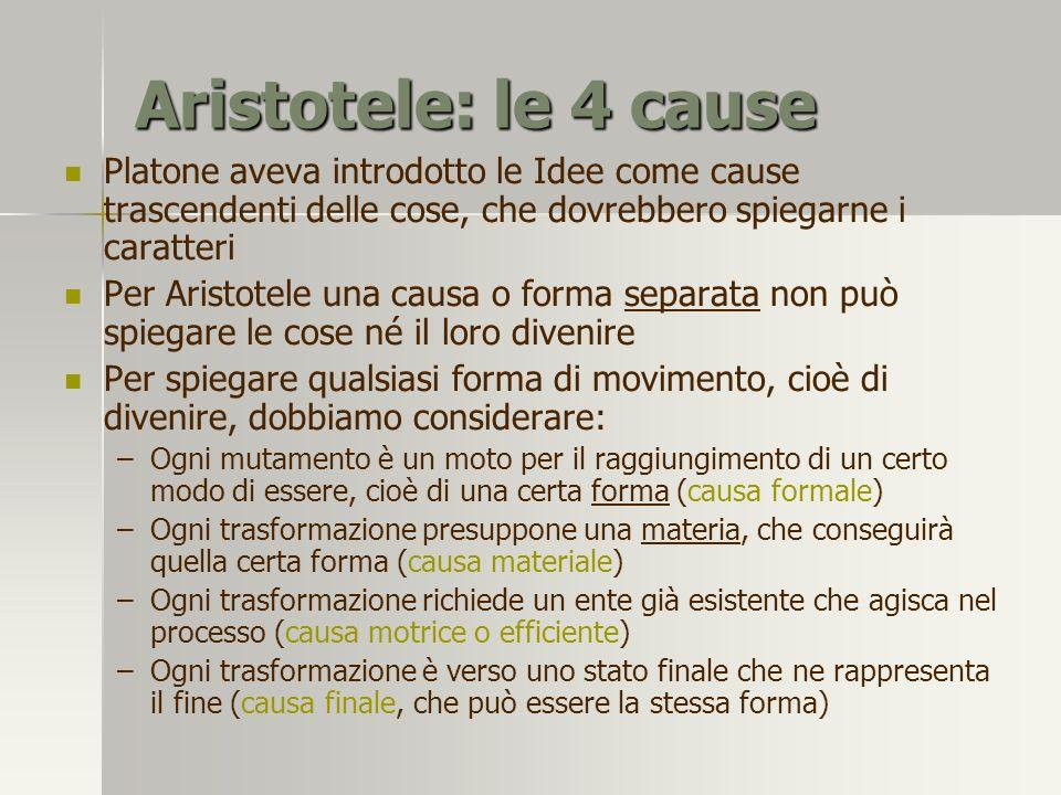 Aristotele: le 4 cause Platone aveva introdotto le Idee come cause trascendenti delle cose, che dovrebbero spiegarne i caratteri.