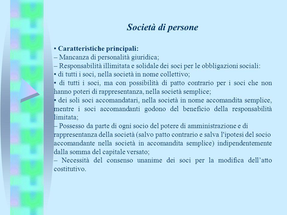 Società di persone • Caratteristiche principali: