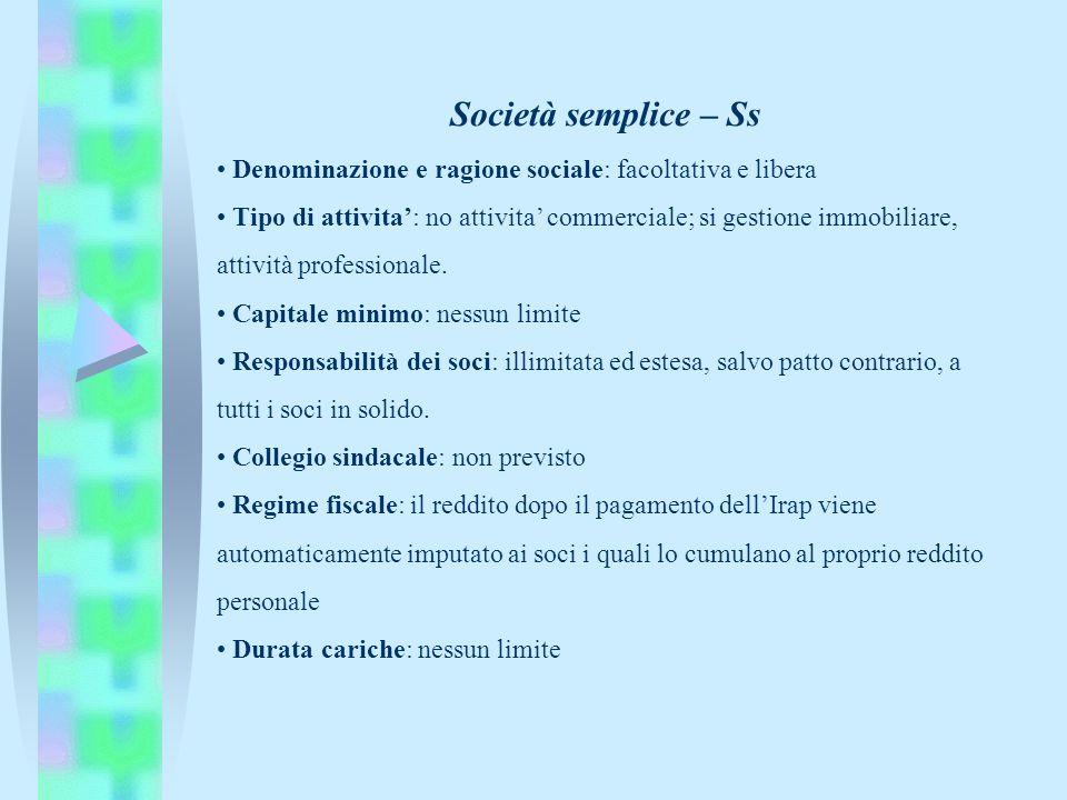 Società semplice – Ss • Denominazione e ragione sociale: facoltativa e libera.