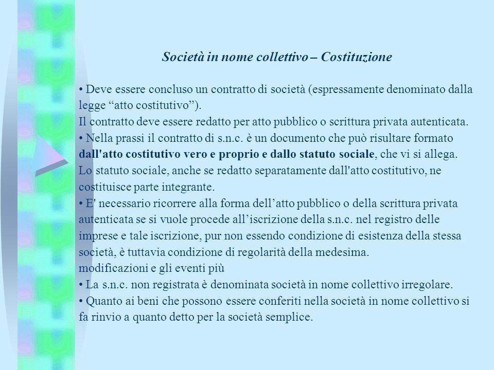 Società in nome collettivo – Costituzione