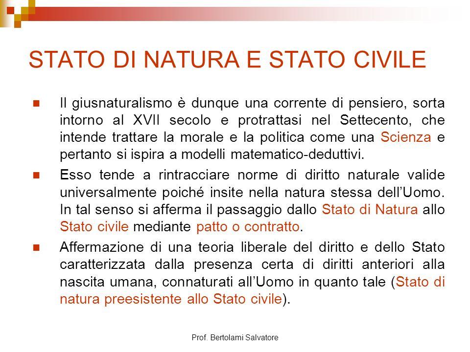STATO DI NATURA E STATO CIVILE