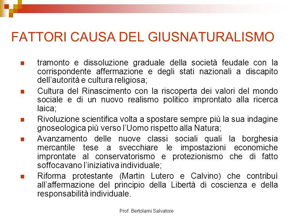 FATTORI CAUSA DEL GIUSNATURALISMO